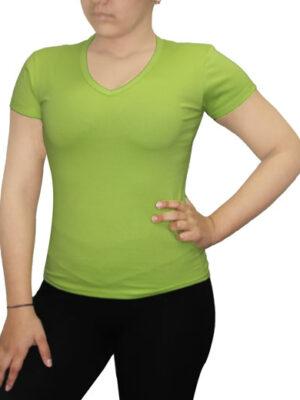 Polo Verde Manzana Dama Cuello V