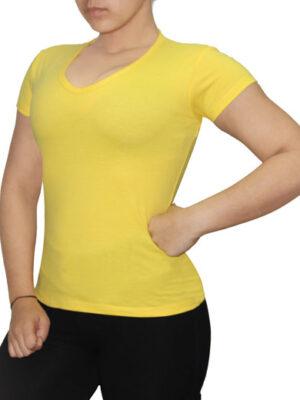 Polo Dama Cuello V Amarillo Brasil