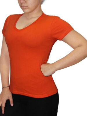 Polo Dama Cuello V Naranja