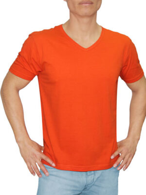 Polo Naranja en Cuello V