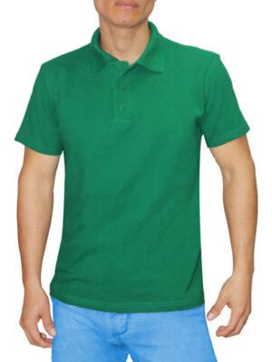 Polo Cuello Camisero Verde Perico